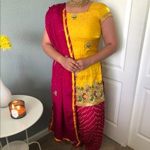 Indian/ Punjabi yellow and pink salwar suit